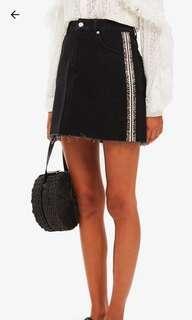 Topshop Leopard Stripe Black Denim Skirt