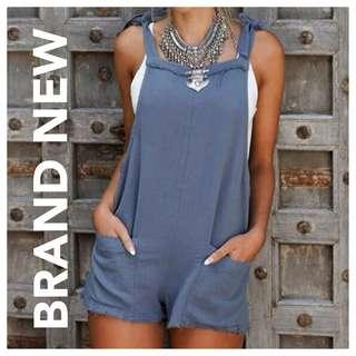 Blue Jumpsuit with Side Pockets