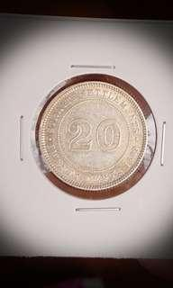 Straits 1899 Silver 20 Cents
