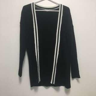 Black cardigan with striped design from Ardene