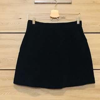 Zara Corduroy Black A-line Mini Skirt