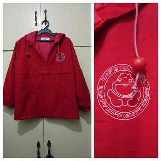 MA210 Happy Hippo Red Semi Water Resistant Jacket - see pics for flaw