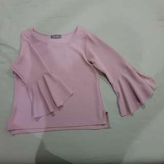 Frill Sleeved Top Pink