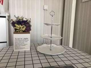3 tier cup cake stand plate tray Xmas Gift exchange Christmas gift