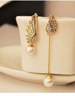 1126-3 天使翅膀大气珍珠耳飾品