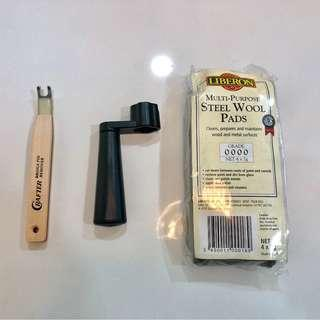 NEW Crafter Guitar Bridge Pin Remover,  Dunlop Tuning Peg Turner & Fret cleaning steel wool pads
