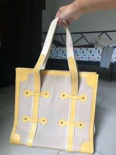 [REPRICE] Janeville Leather Canvas Large Tote Shoulder Bag Yellow