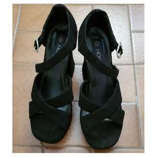 size 7- black block heels