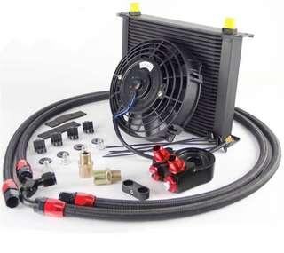 "Universal 30 Row Transmission 8AN Oil Cooler Kit for high performance & heavy duty + 7"" Fan Kit"