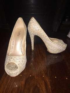 Off White Sequin Heels