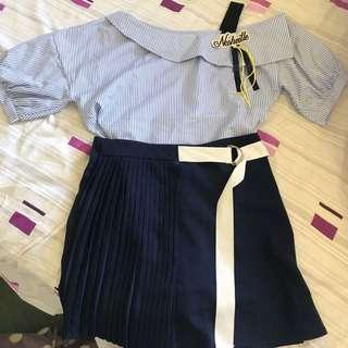 Korean fashion skirt + shirt set