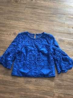 Love Bonito Blue Crochet Top
