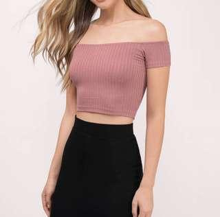 🚚 bnwot factorie dusty pink ribbed off shoulder top
