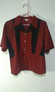 ♦ Red Vintage Collared Blouse