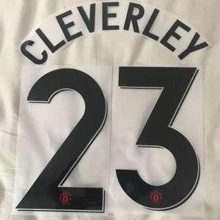 Manchester United 12/13 Champions League CLEVERLEY 23 Nameset