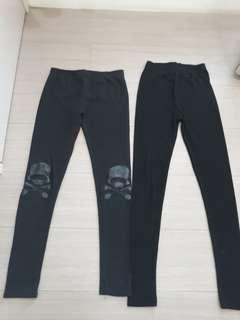 🚚 2件黑色冬季內搭褲--Size: S
