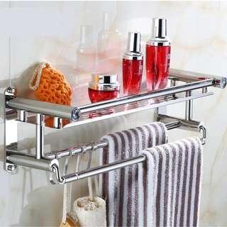 Stainless Steel Bathroom Rack Toilet Organiser Shower Dispenser Shelf