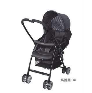 日本 Aprica 超輕量雙向平躺型嬰幼兒手推車karoon629高雅黑特價三天2800