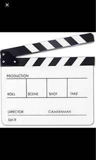 White clapper board