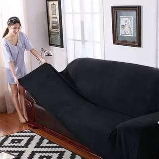 BLACK fabric Sofa Cover 3 seater