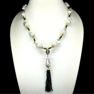 Glorious Oval Amethyst Spinel Chrome Diopside Pearl 925 Sterling Silver Necklace