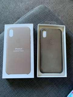 Apple iPhone X taupe leather case