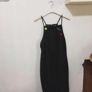 Patch A-Line Midi Denim Dress