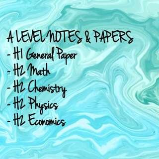 A LEVEL NOTES AND PRACTICE PAPERS