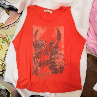 🌟 最後機會!包平郵 橙色 薄款 寬鬆 背心
