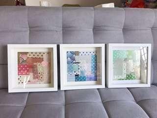 DIY 布藝厚框白色相架裝置一套3個