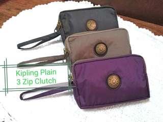 Kipling 3 Zip Clutch - Plain Colors