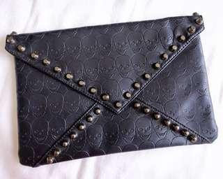 Skull Print Clutch with Studs