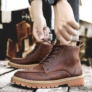 Men's British Style Winter Lace Up High Cut Boots