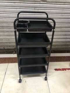 BLACK SALON TROLLEY / UTILITY CART / 5 TIER TROLLEY