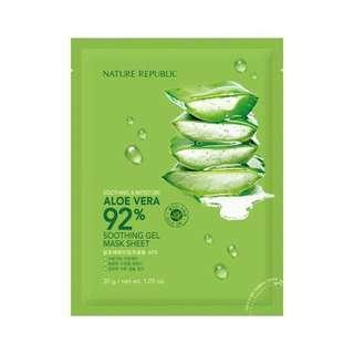 [NEW] Nature Repulic 92% Aloe Vera Soothing Gel Mask Sheet