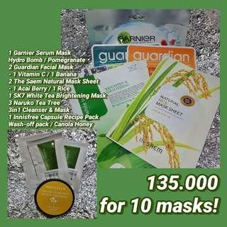 SET FACE MASK - Innisfree, Garnier, The Saem, Guardian, SK7, Naruko