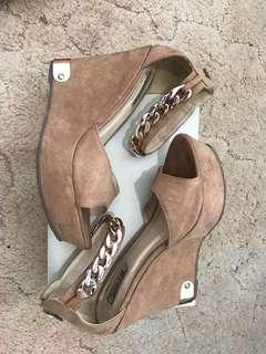 Suede Nude Chain Wedges