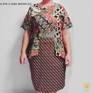Batik Office dress for curvy ladies in Brown