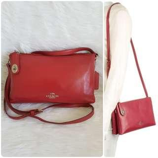 LAST PRICE! FREE SHIP!  Auth Coach Red Leather Crossbody Sling Bag michael kors kate spade