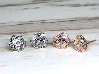 Rose Ear Studs with CZ in Silver 925