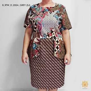 Batik office dress for curvy ladies in Grey