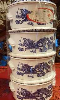 4pcs blue white dragon containers with lid