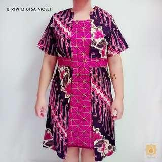 Batik dress for curvy ladies in Violet