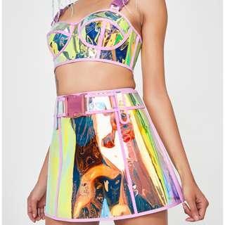Dolls kill Club exx dream crusher skirt hologram pvc party skirt wild sexy transparent 夜光高腰裙
