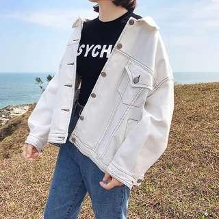 S M L white denim jacket