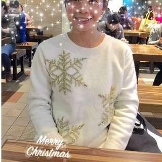 🚚 聖誕節特賣 ASOS網站購買亮片雪花毛衣 聖誕主題 溫暖上市 應景穿著 聖誕派對 白色聖誕🎄 白色毛呢 交換禮物