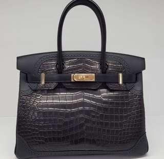 06397e7f51c Hermes Birkin Limited Edition 30 Noir Ghillies Crocodile Porosus Matte GHW   X