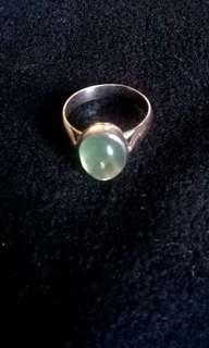 Green Moonstone ring (unisex)set in silver