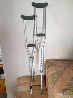 Grey crutches