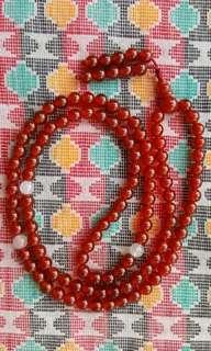 Orange Agate Stone Buddhist Prayer Beads